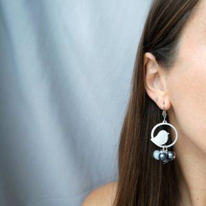 Dangle Earrings, Bird Earrings, Silver Earrings, Silver Dangling earrings, Gray Earrings, Statement Earrings