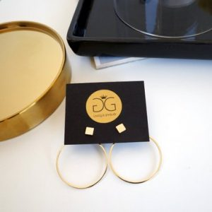 Minimalist geometric gold plated double sided earrings